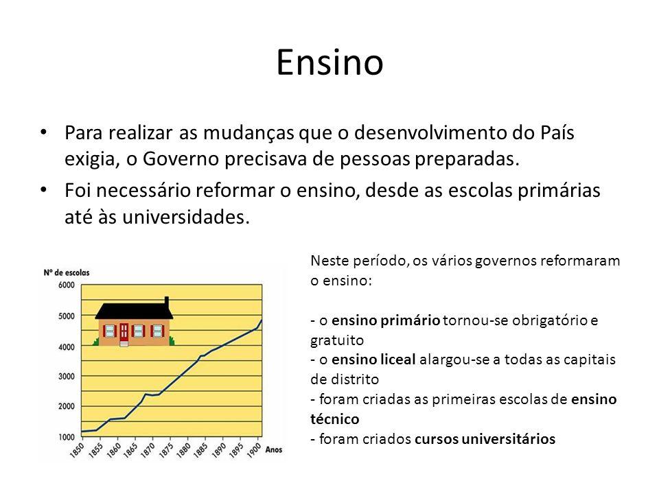 Ensino Para realizar as mudanças que o desenvolvimento do País exigia, o Governo precisava de pessoas preparadas. Foi necessário reformar o ensino, de