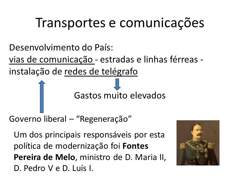 Transportes e comunicações Desenvolvimento do País: vias de comunicação - estradas e linhas férreas - instalação de redes de telégrafo Gastos muito el