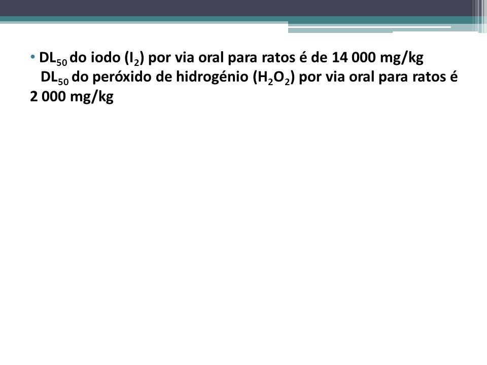 DL 50 do iodo (I 2 ) por via oral para ratos é de 14 000 mg/kg DL 50 do peróxido de hidrogénio (H 2 O 2 ) por via oral para ratos é 2 000 mg/kg - É ne