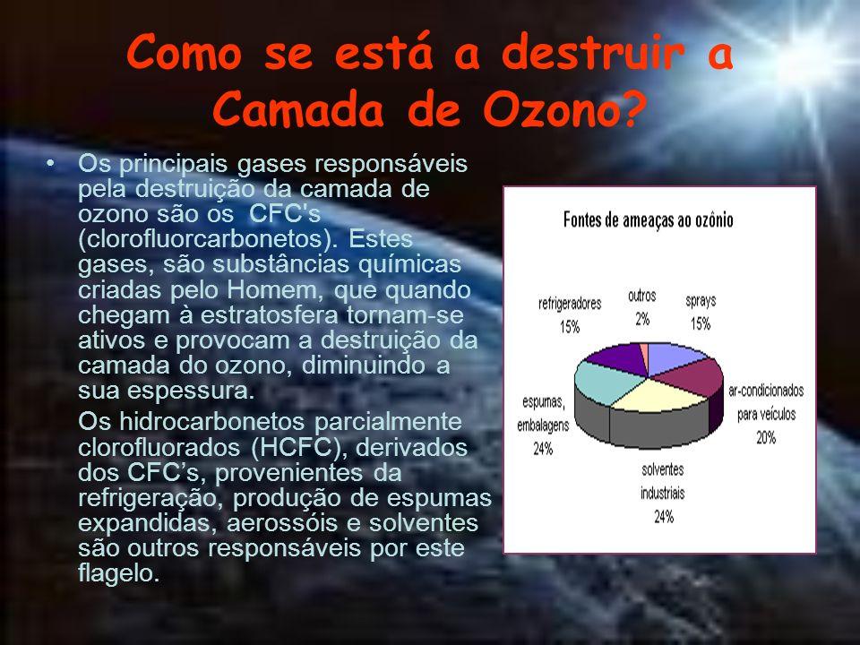 Como se está a destruir a Camada de Ozono? Os principais gases responsáveis pela destruição da camada de ozono são os CFC's (clorofluorcarbonetos). Es