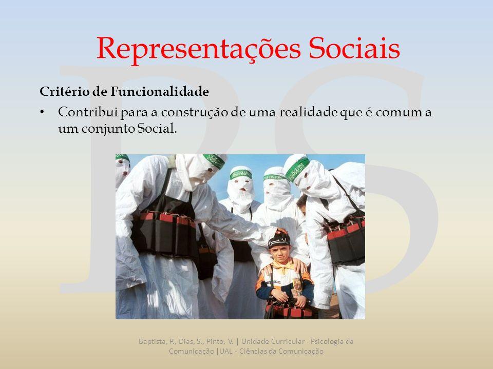 RS Representações Sociais Critério de Funcionalidade Contribui para a construção de uma realidade que é comum a um conjunto Social. Baptista, P., Dias