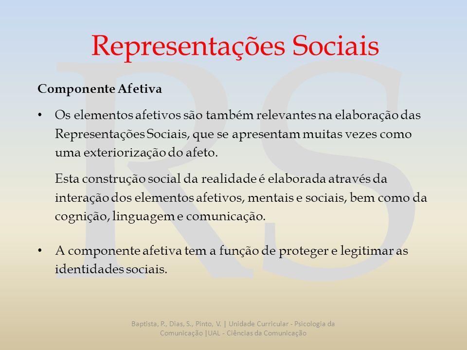 RS Representações Sociais Componente Afetiva Os elementos afetivos são também relevantes na elaboração das Representações Sociais, que se apresentam m