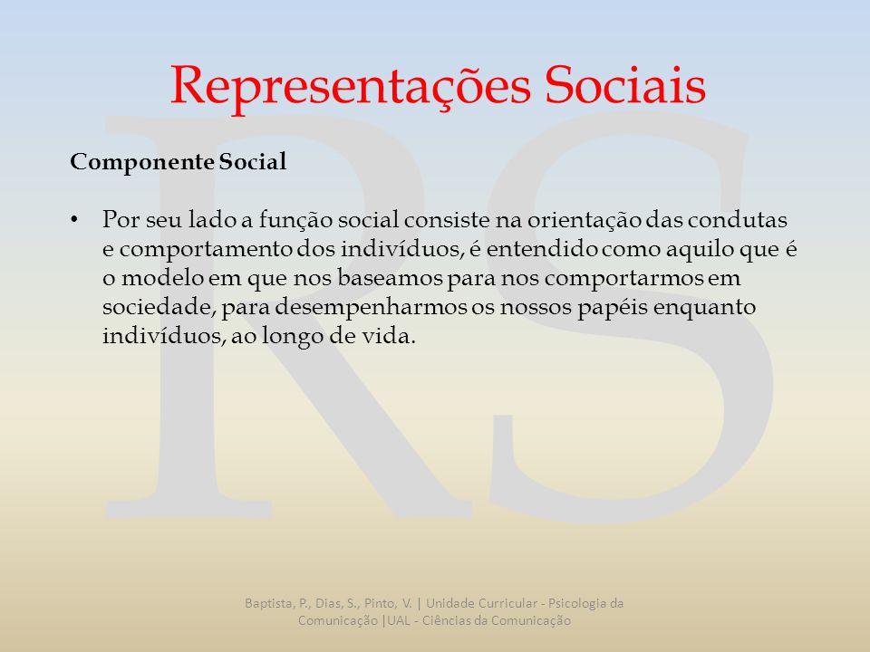 RS Representações Sociais Componente Social Por seu lado a função social consiste na orientação das condutas e comportamento dos indivíduos, é entendi