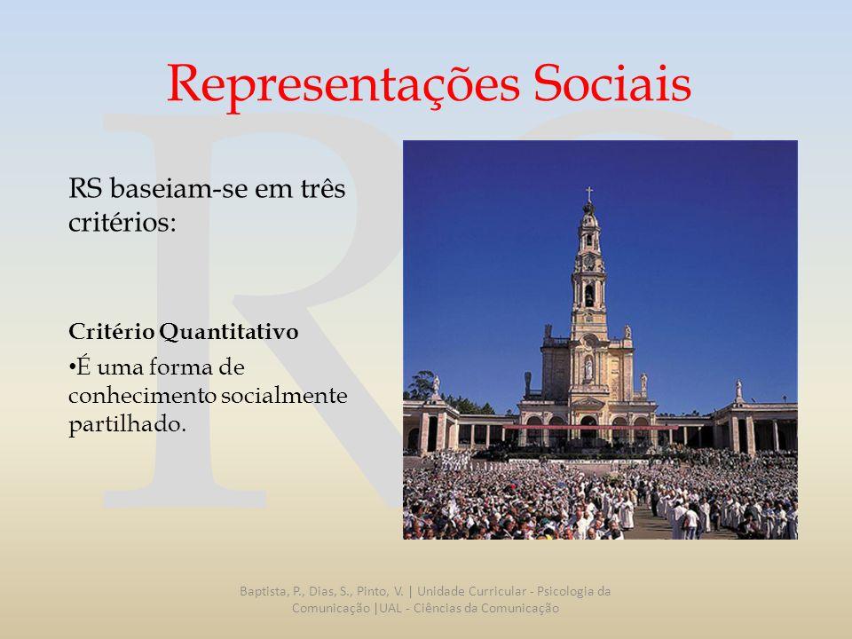 RS Representações Sociais RS baseiam-se em três critérios: Critério Quantitativo É uma forma de conhecimento socialmente partilhado. Baptista, P., Dia