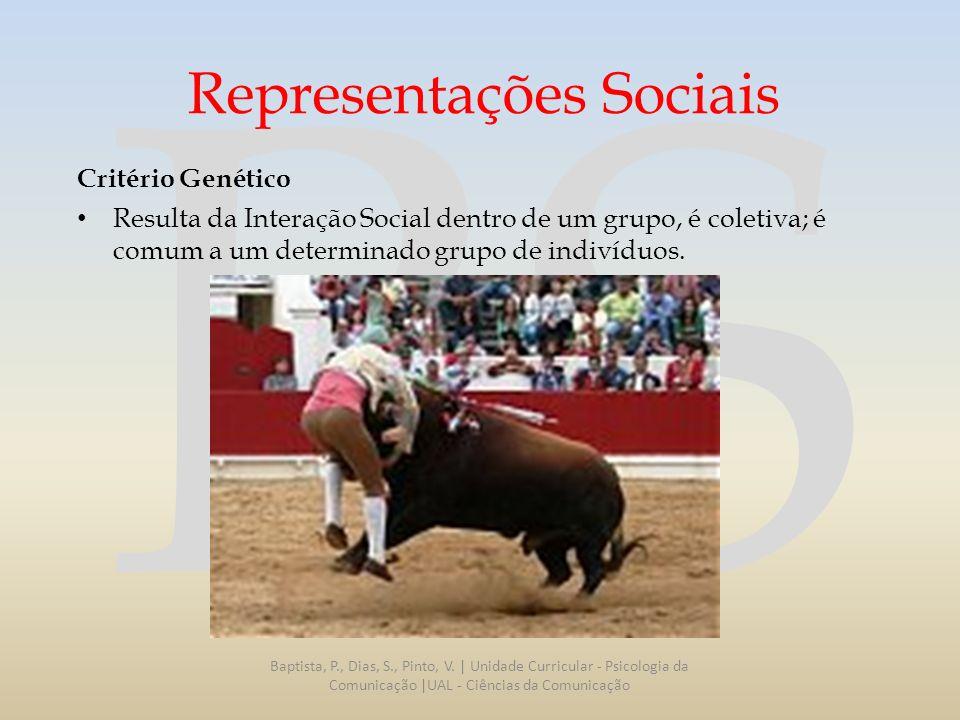 RS Representações Sociais Critério Genético Resulta da Interação Social dentro de um grupo, é coletiva; é comum a um determinado grupo de indivíduos.