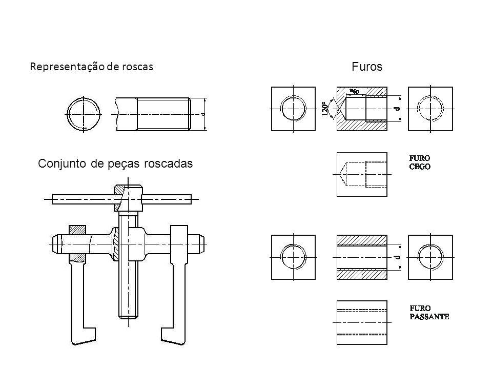 Representação de roscas Conjunto de peças roscadas Furos