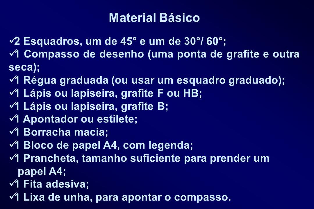 Material Básico 2 Esquadros, um de 45° e um de 30°/ 60°; 1 Compasso de desenho (uma ponta de grafite e outra seca); 1 Régua graduada (ou usar um esqua