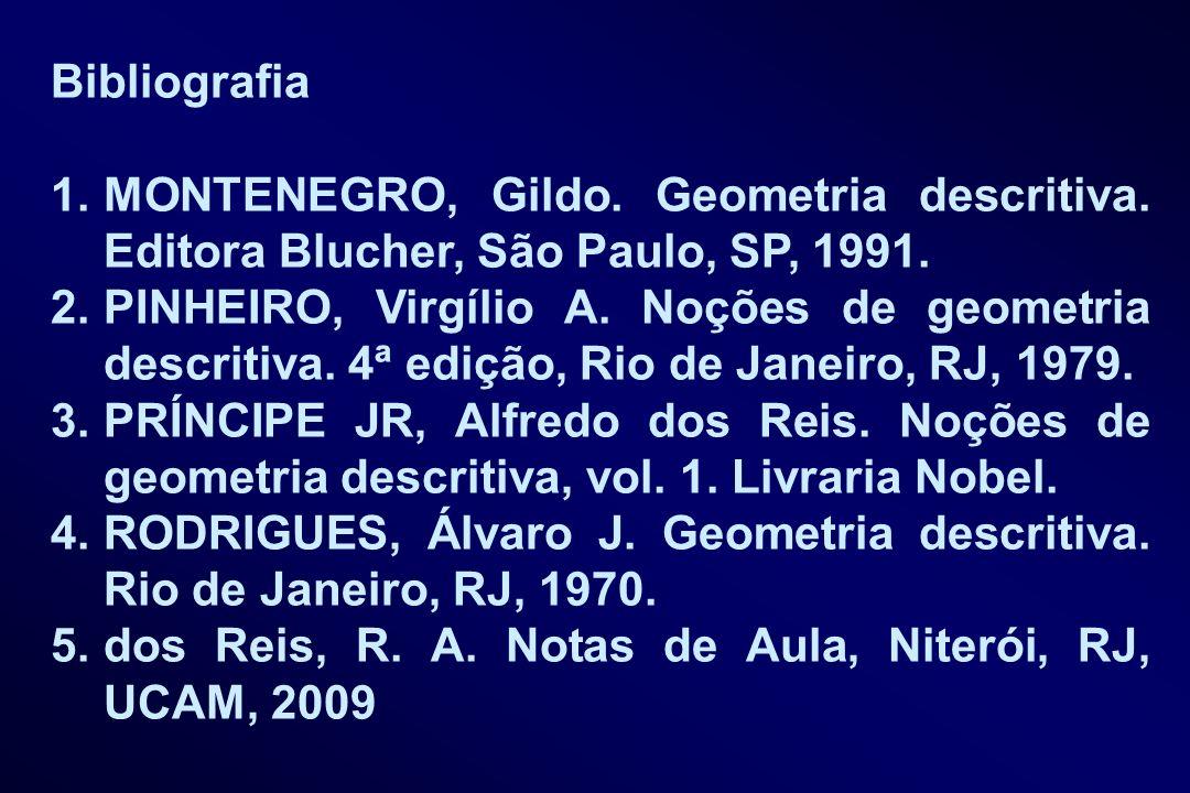 Bibliografia 1.MONTENEGRO, Gildo. Geometria descritiva. Editora Blucher, São Paulo, SP, 1991. 2.PINHEIRO, Virgílio A. Noções de geometria descritiva.