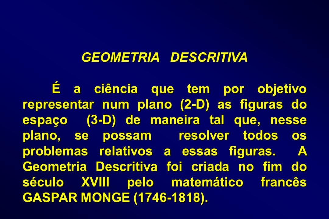 GEOMETRIA DESCRITIVA É a ciência que tem por objetivo representar num plano (2-D) as figuras do espaço (3-D) de maneira tal que, nesse plano, se possa