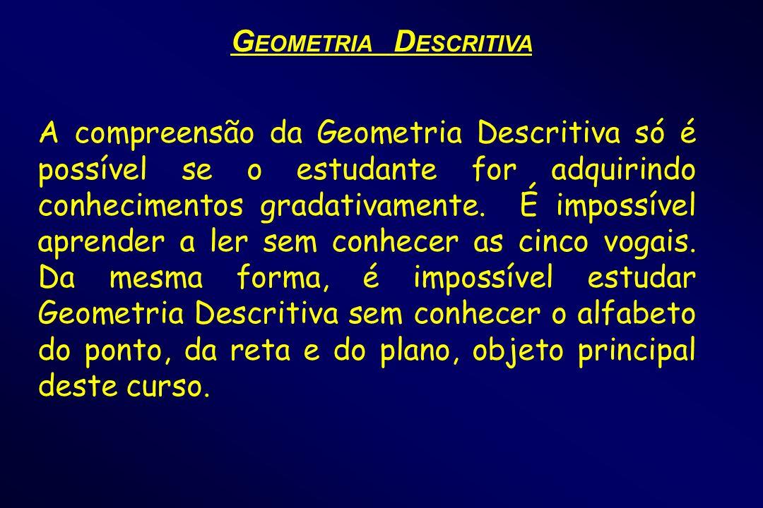 A compreensão da Geometria Descritiva só é possível se o estudante for adquirindo conhecimentos gradativamente. É impossível aprender a ler sem conhec