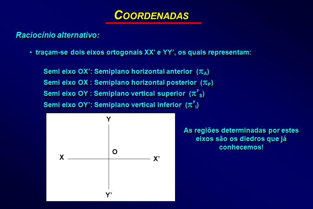 Raciocínio alternativo: traçam-se dois eixos ortogonais XX e YY, os quais representam: Semi eixo OX: Semiplano horizontal anterior ( A ) Semi eixo OX