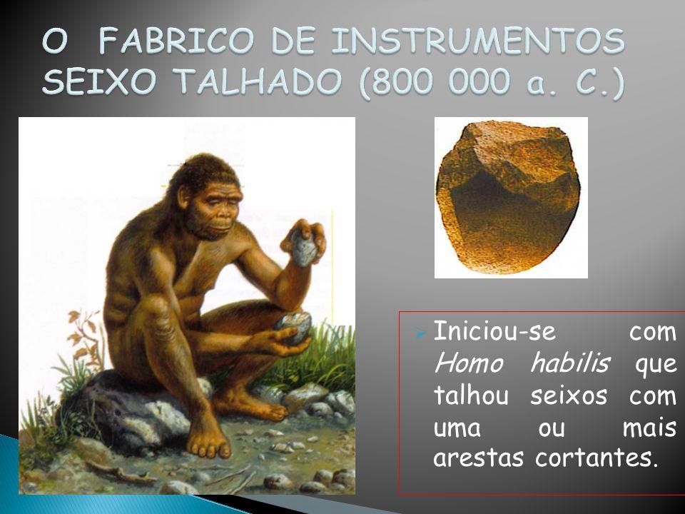Iniciou-se com Homo habilis que talhou seixos com uma ou mais arestas cortantes.