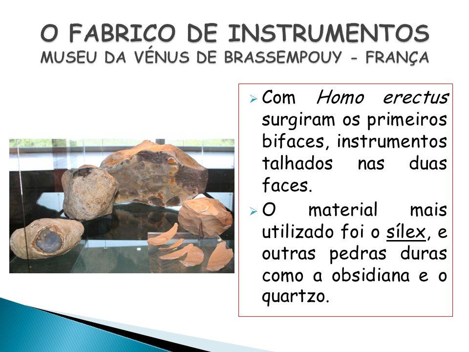 Com Homo erectus surgiram os primeiros bifaces, instrumentos talhados nas duas faces. O material mais utilizado foi o sílex, e outras pedras duras com