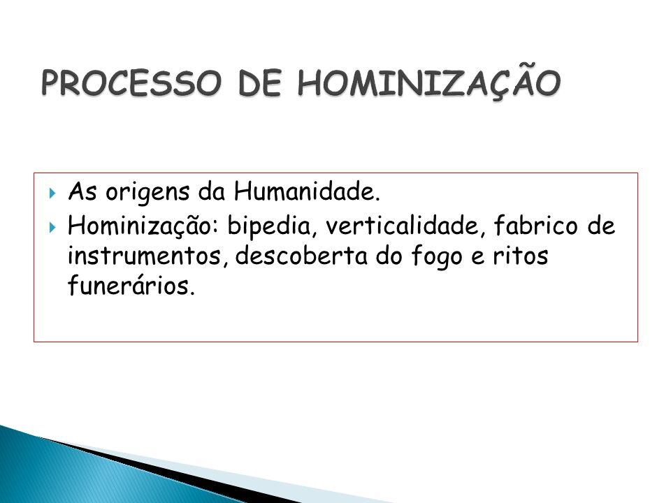 As origens da Humanidade. Hominização: bipedia, verticalidade, fabrico de instrumentos, descoberta do fogo e ritos funerários.