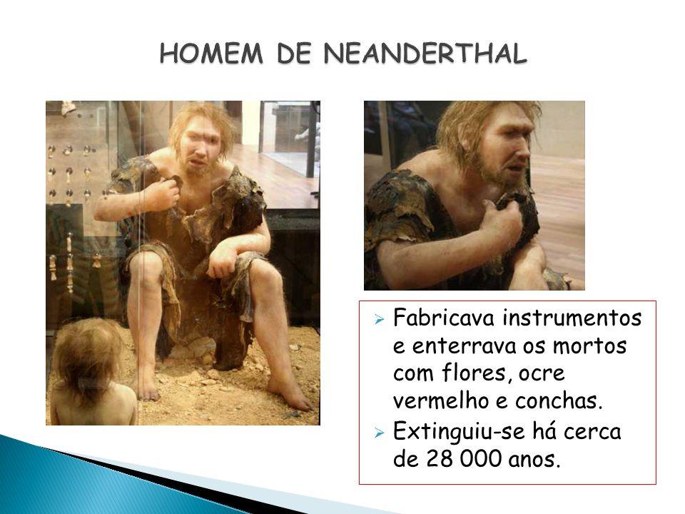 Fabricava instrumentos e enterrava os mortos com flores, ocre vermelho e conchas. Extinguiu-se há cerca de 28 000 anos.