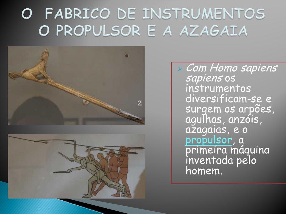 Com Homo sapiens sapiens os instrumentos diversificam-se e surgem os arpões, agulhas, anzóis, azagaias, e o propulsor, a primeira máquina inventada pe