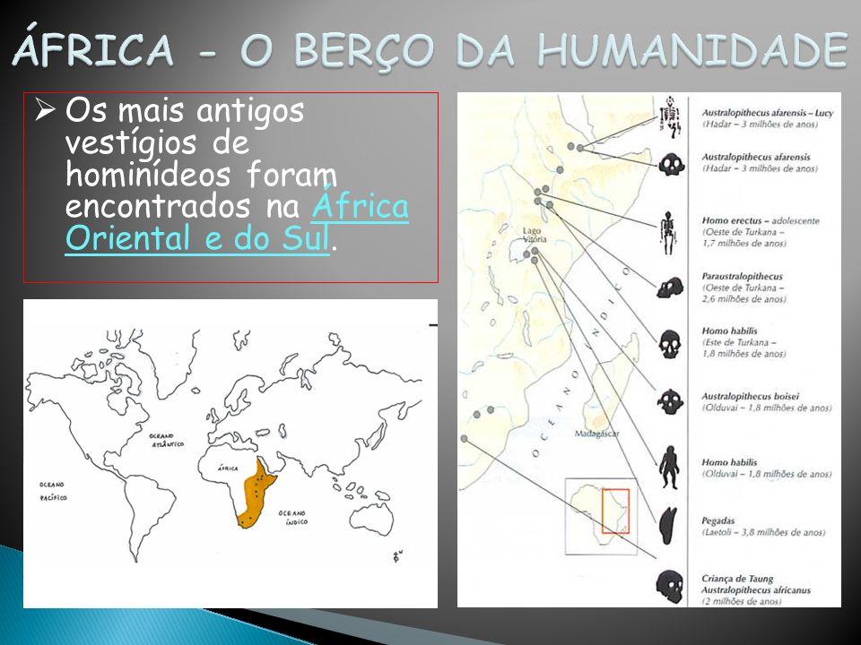 Os mais antigos vestígios de hominídeos foram encontrados na África Oriental e do Sul.
