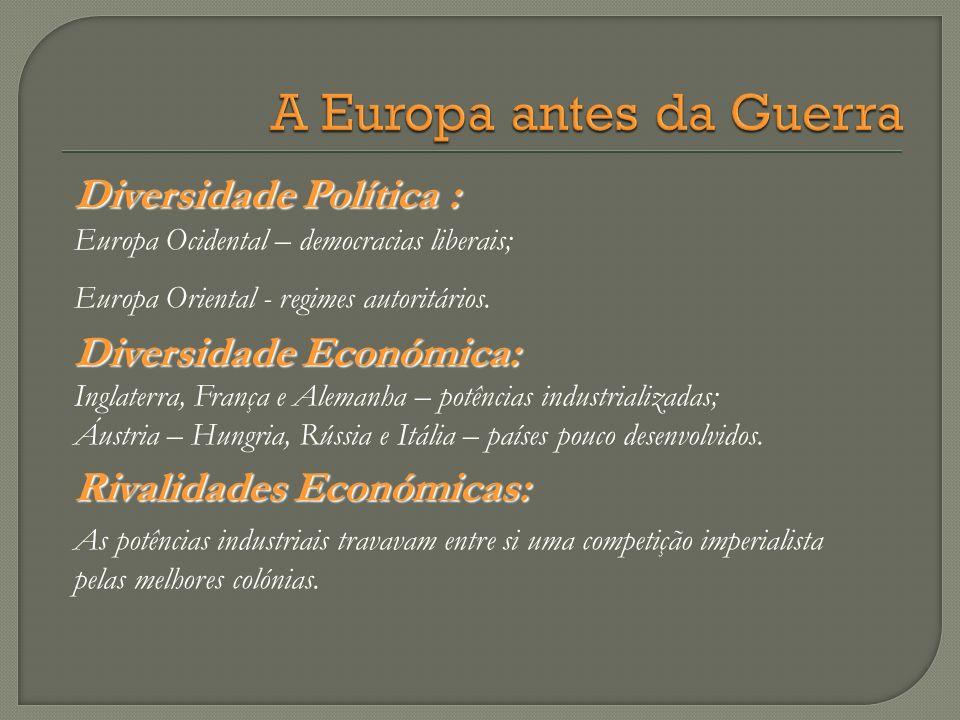 Diversidade Política : Europa Ocidental – democracias liberais; Europa Oriental - regimes autoritários. Diversidade Económica: Inglaterra, França e Al