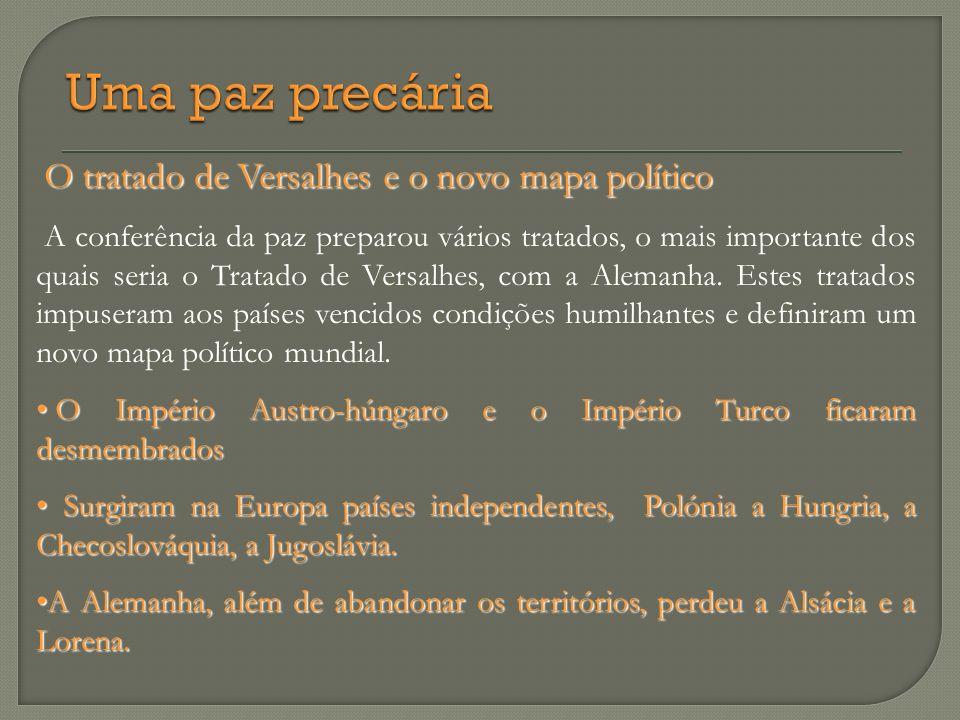 O tratado de Versalhes e o novo mapa político O tratado de Versalhes e o novo mapa político A conferência da paz preparou vários tratados, o mais impo