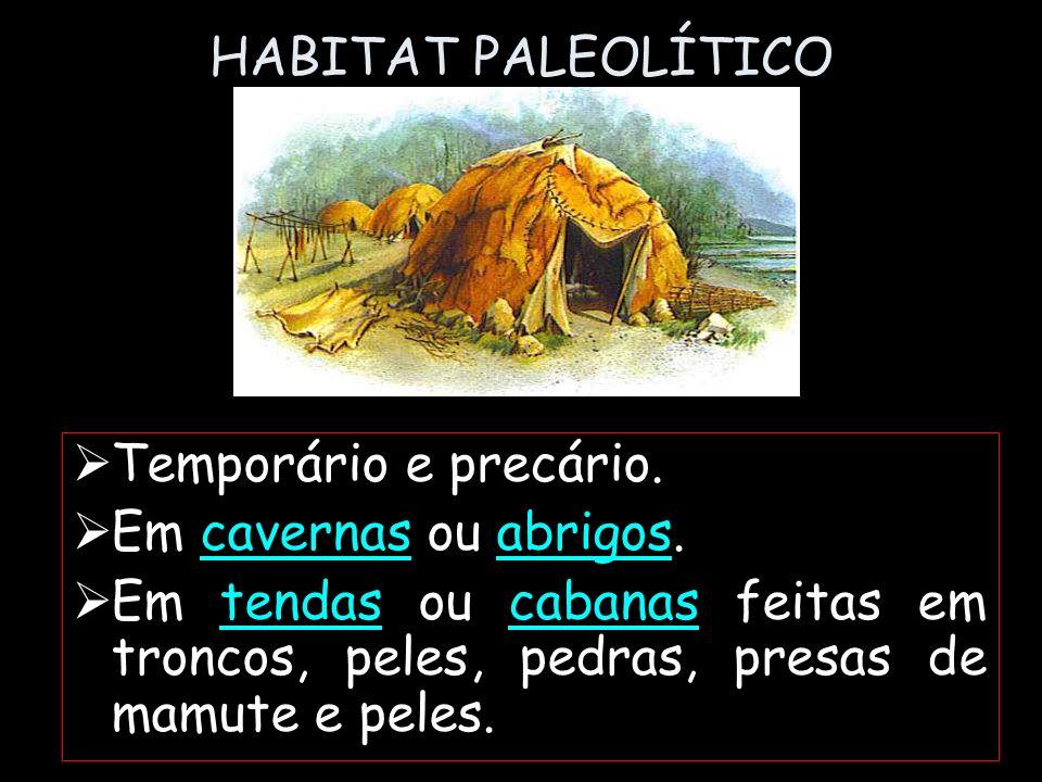 HABITAT PALEOLÍTICO Temporário e precário. Em cavernas ou abrigos. Em tendas ou cabanas feitas em troncos, peles, pedras, presas de mamute e peles.