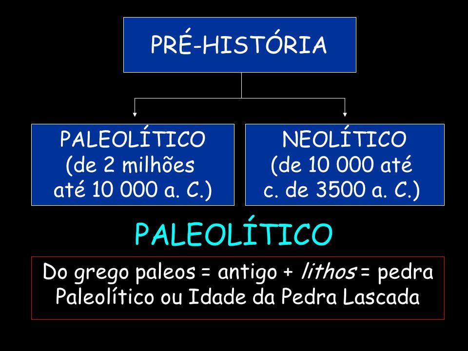 PALEOLÍTICO Do grego paleos = antigo + lithos = pedra Paleolítico ou Idade da Pedra Lascada PRÉ-HISTÓRIA PALEOLÍTICO (de 2 milhões até 10 000 a. C.) N