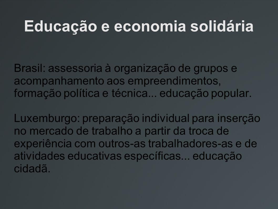 Educação e economia solidária Brasil: assessoria à organização de grupos e acompanhamento aos empreendimentos, formação política e técnica... educação
