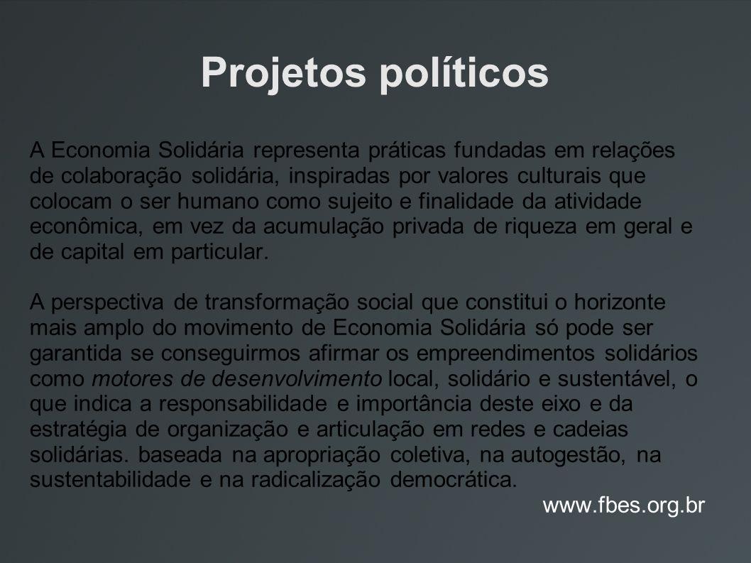 Projetos políticos A Economia Solidária representa práticas fundadas em relações de colaboração solidária, inspiradas por valores culturais que coloca