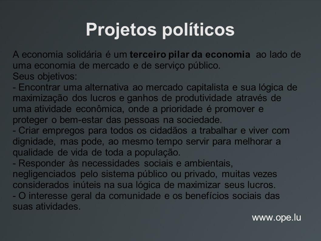 Projetos políticos A economia solidária é um terceiro pilar da economia ao lado de uma economia de mercado e de serviço público. Seus objetivos: - Enc