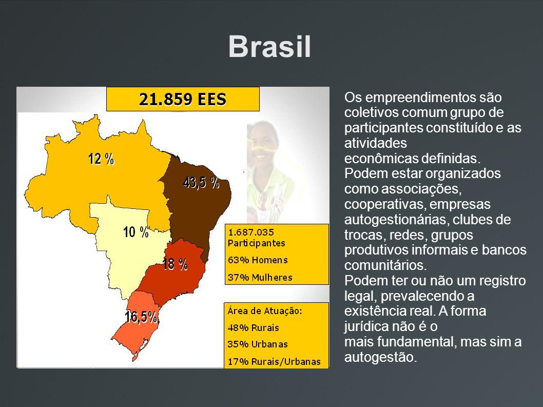 Brasil Os empreendimentos são coletivos comum grupo de participantes constituído e as atividades econômicas definidas. Podem estar organizados como as