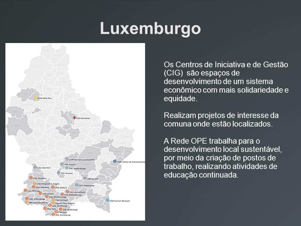 Luxemburgo Os Centros de Iniciativa e de Gestão (CIG) são espaços de desenvolvimento de um sistema econômico com mais solidariedade e equidade. Realiz