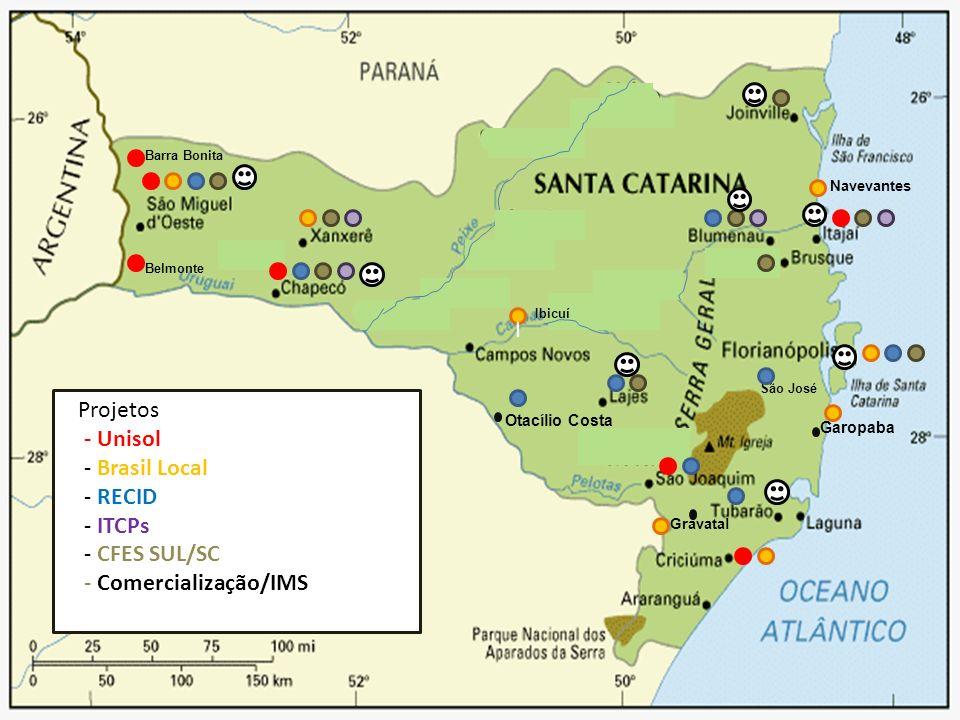 Otacílio Costa Garopaba Gravatal Projetos - Unisol - Brasil Local - RECID - ITCPs - CFES SUL/SC - Comercialização/IMS I Navevantes São José Belmonte I