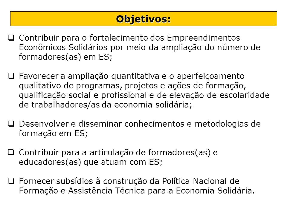 Contribuir para o fortalecimento dos Empreendimentos Econômicos Solidários por meio da ampliação do número de formadores(as) em ES; Favorecer a amplia