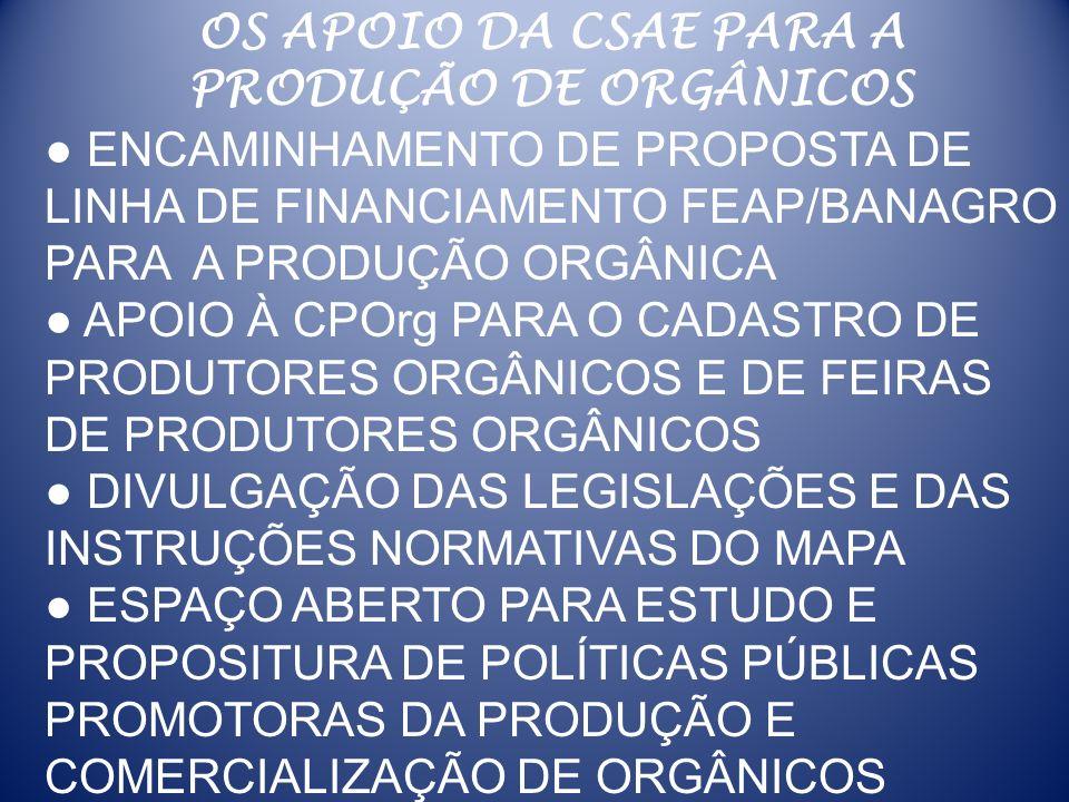OS APOIO DA CSAE PARA A PRODUÇÃO DE ORGÂNICOS ENCAMINHAMENTO DE PROPOSTA DE LINHA DE FINANCIAMENTO FEAP/BANAGRO PARA A PRODUÇÃO ORGÂNICA APOIO À CPOrg