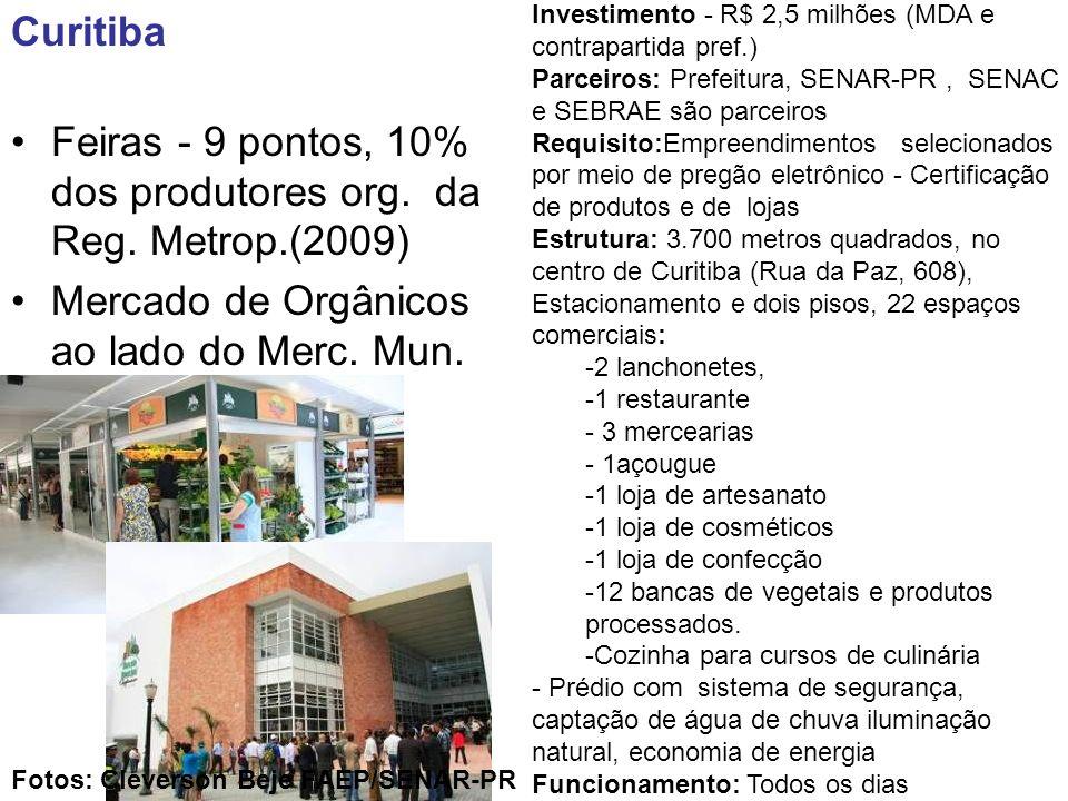 Curitiba Feiras - 9 pontos, 10% dos produtores org. da Reg. Metrop.(2009) Mercado de Orgânicos ao lado do Merc. Mun. Investimento - R$ 2,5 milhões (MD