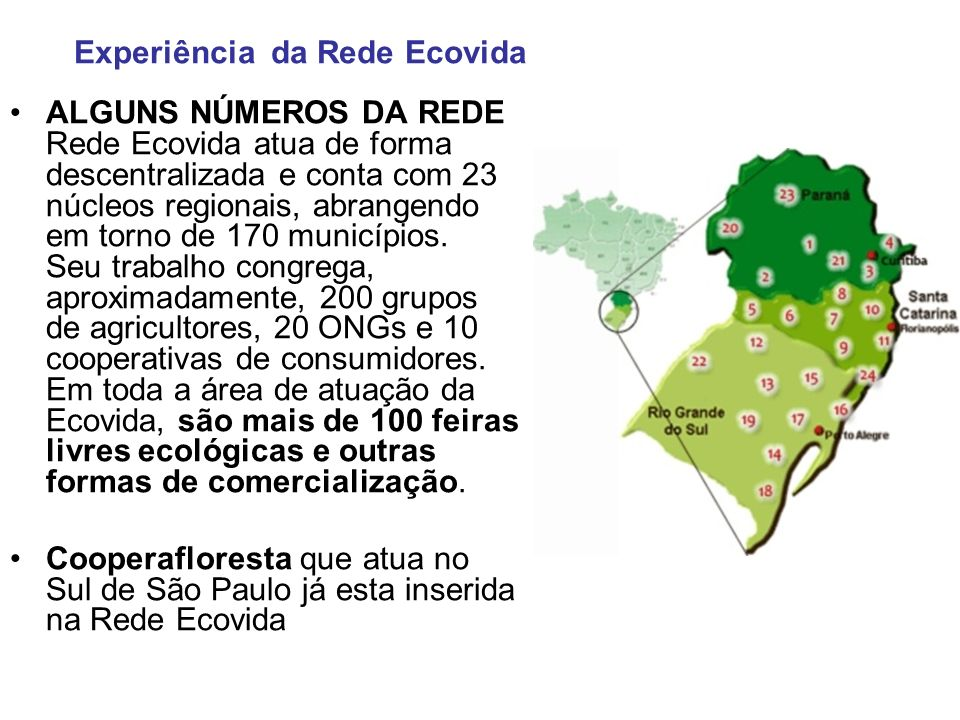 ALGUNS NÚMEROS DA REDE Rede Ecovida atua de forma descentralizada e conta com 23 núcleos regionais, abrangendo em torno de 170 municípios. Seu trabalh
