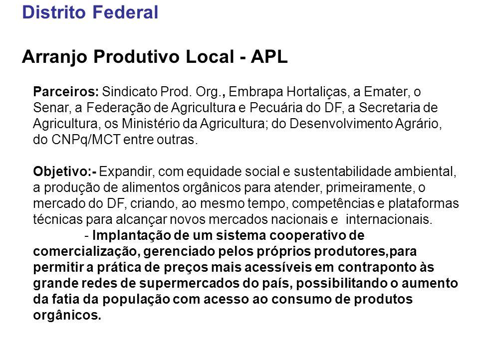 Distrito Federal Arranjo Produtivo Local - APL Parceiros: Sindicato Prod. Org., Embrapa Hortaliças, a Emater, o Senar, a Federação de Agricultura e Pe