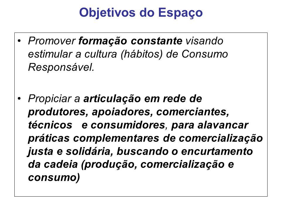 Objetivos do Espaço Promover formação constante visando estimular a cultura (hábitos) de Consumo Responsável. Propiciar a articulação em rede de produ