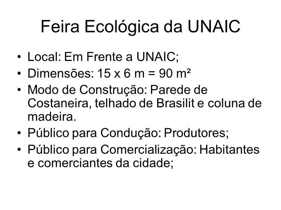 Feira Ecológica da UNAIC Local: Em Frente a UNAIC; Dimensões: 15 x 6 m = 90 m² Modo de Construção: Parede de Costaneira, telhado de Brasilit e coluna de madeira.