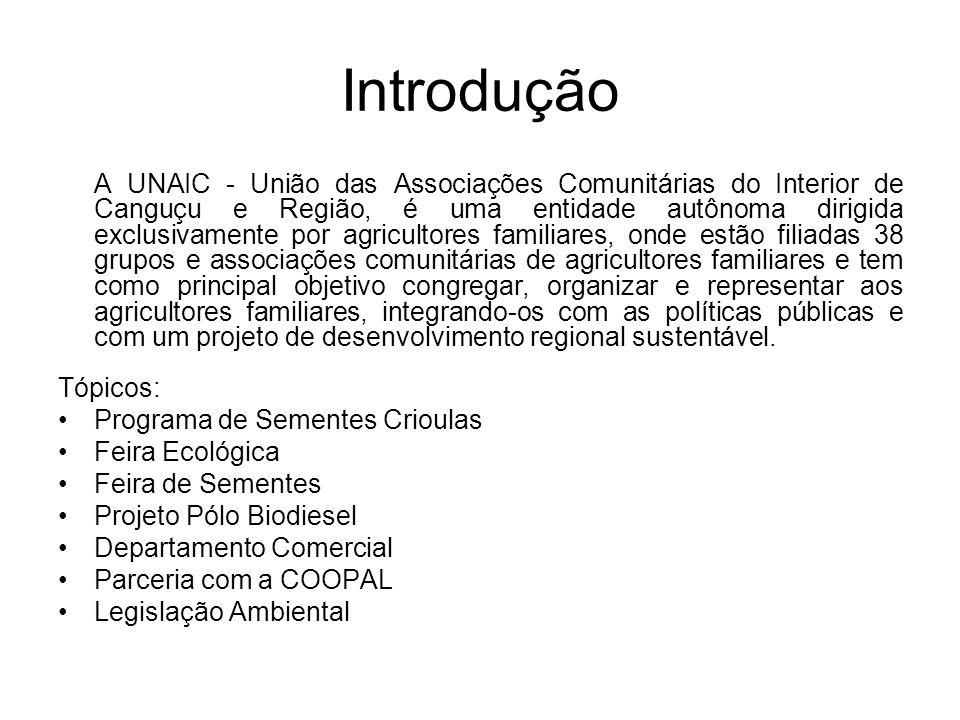 Introdução A UNAIC - União das Associações Comunitárias do Interior de Canguçu e Região, é uma entidade autônoma dirigida exclusivamente por agricultores familiares, onde estão filiadas 38 grupos e associações comunitárias de agricultores familiares e tem como principal objetivo congregar, organizar e representar aos agricultores familiares, integrando-os com as políticas públicas e com um projeto de desenvolvimento regional sustentável.