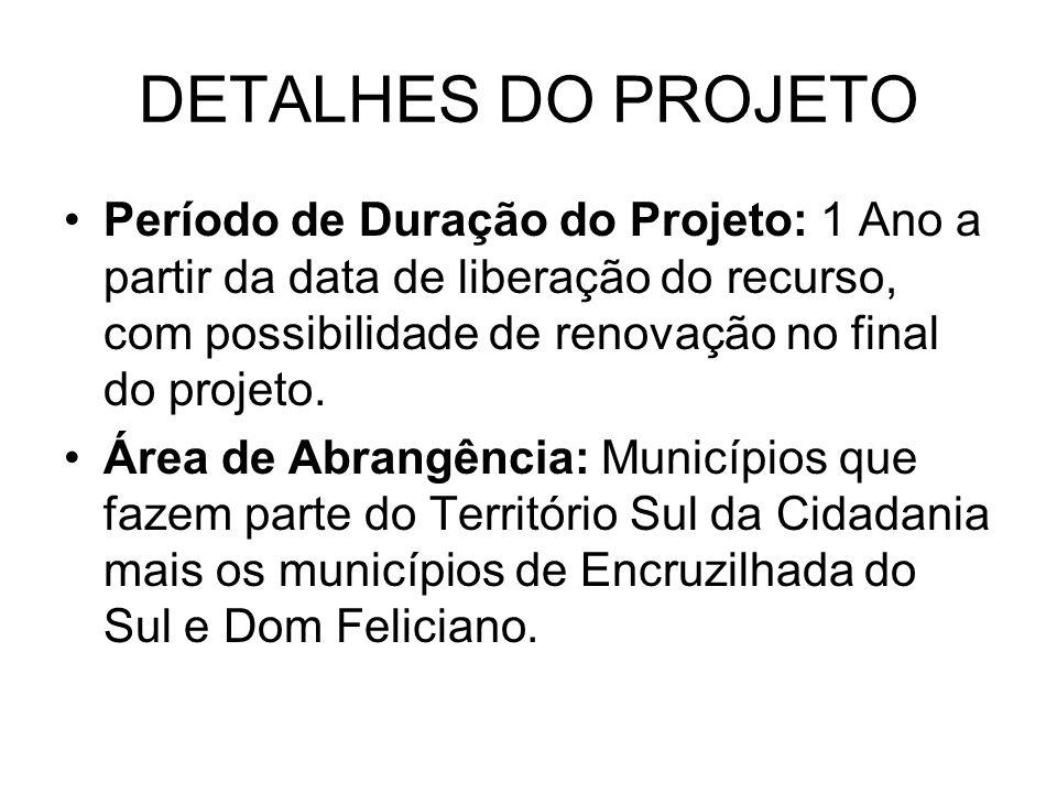 Período de Duração do Projeto: 1 Ano a partir da data de liberação do recurso, com possibilidade de renovação no final do projeto.