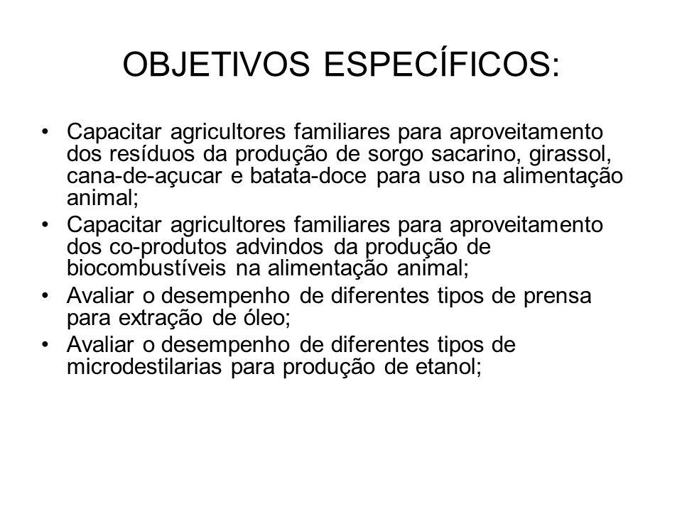 OBJETIVOS ESPECÍFICOS: Capacitar agricultores familiares para aproveitamento dos resíduos da produção de sorgo sacarino, girassol, cana-de-açucar e batata-doce para uso na alimentação animal; Capacitar agricultores familiares para aproveitamento dos co-produtos advindos da produção de biocombustíveis na alimentação animal; Avaliar o desempenho de diferentes tipos de prensa para extração de óleo; Avaliar o desempenho de diferentes tipos de microdestilarias para produção de etanol;