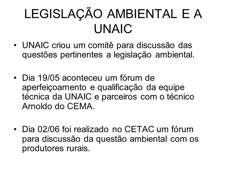 LEGISLAÇÃO AMBIENTAL E A UNAIC UNAIC criou um comitê para discussão das questões pertinentes a legislação ambiental.