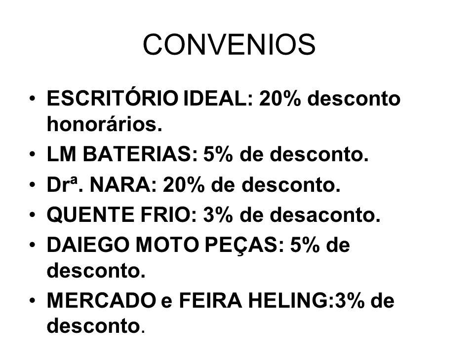 CONVENIOS ESCRITÓRIO IDEAL: 20% desconto honorários.