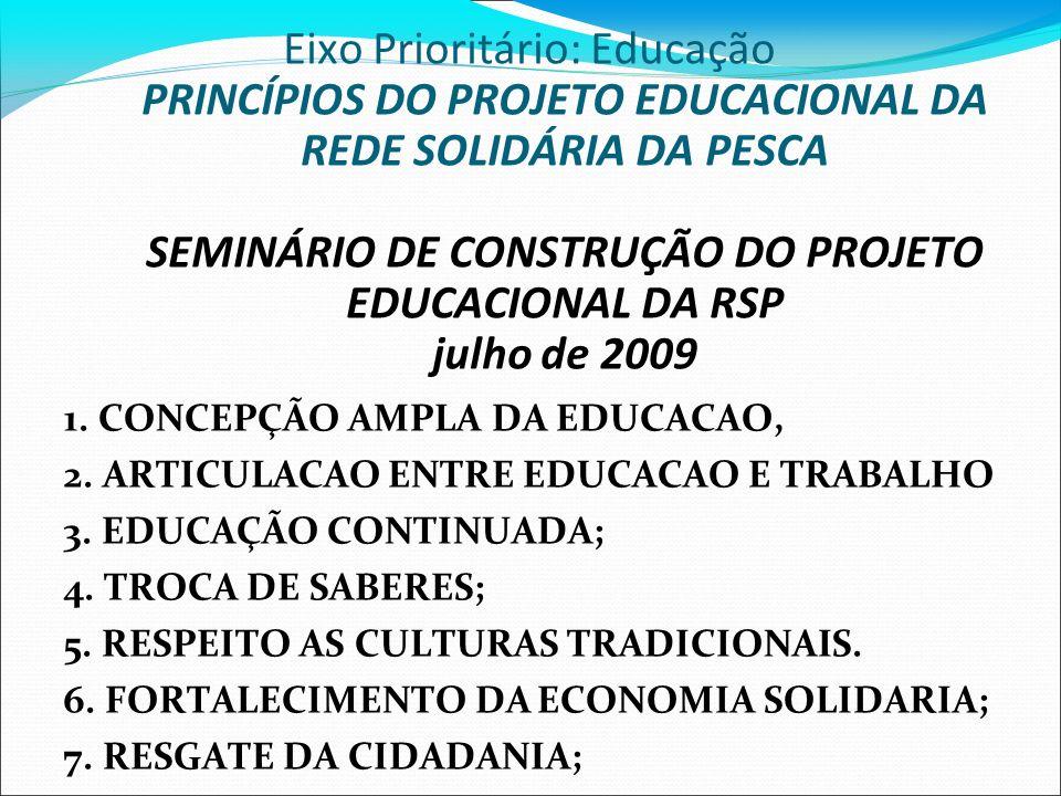1. CONCEPÇÃO AMPLA DA EDUCACAO, 2. ARTICULACAO ENTRE EDUCACAO E TRABALHO 3. EDUCAÇÃO CONTINUADA; 4. TROCA DE SABERES; 5. RESPEITO AS CULTURAS TRADICIO