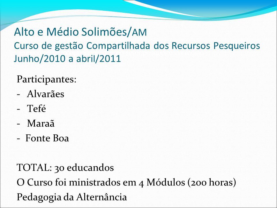 Alto e Médio Solimões/ AM Curso de gestão Compartilhada dos Recursos Pesqueiros Junho/2010 a abril/2011 Participantes: -Alvarães -Tefé -Maraã - Fonte