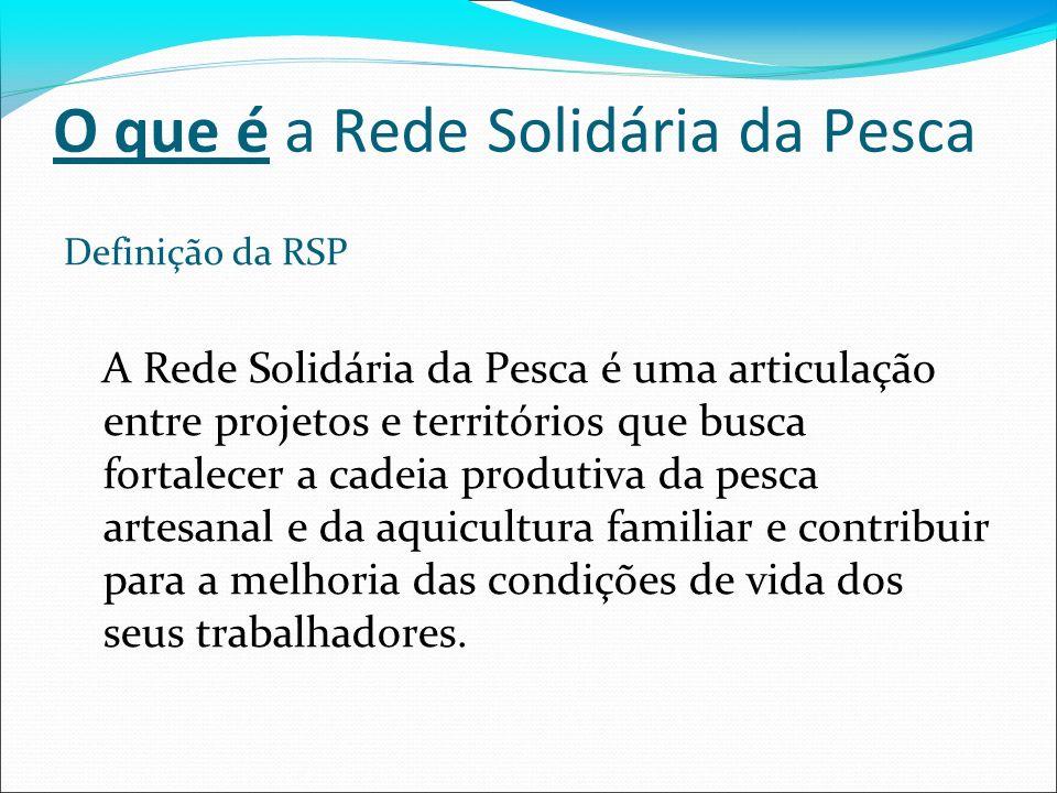 Definição da RSP A Rede Solidária da Pesca é uma articulação entre projetos e territórios que busca fortalecer a cadeia produtiva da pesca artesanal e da aquicultura familiar e contribuir para a melhoria das condições de vida dos seus trabalhadores.