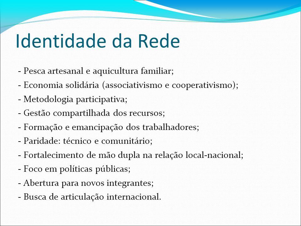 Identidade da Rede - Pesca artesanal e aquicultura familiar; - Economia solidária (associativismo e cooperativismo); - Metodologia participativa; - Ge