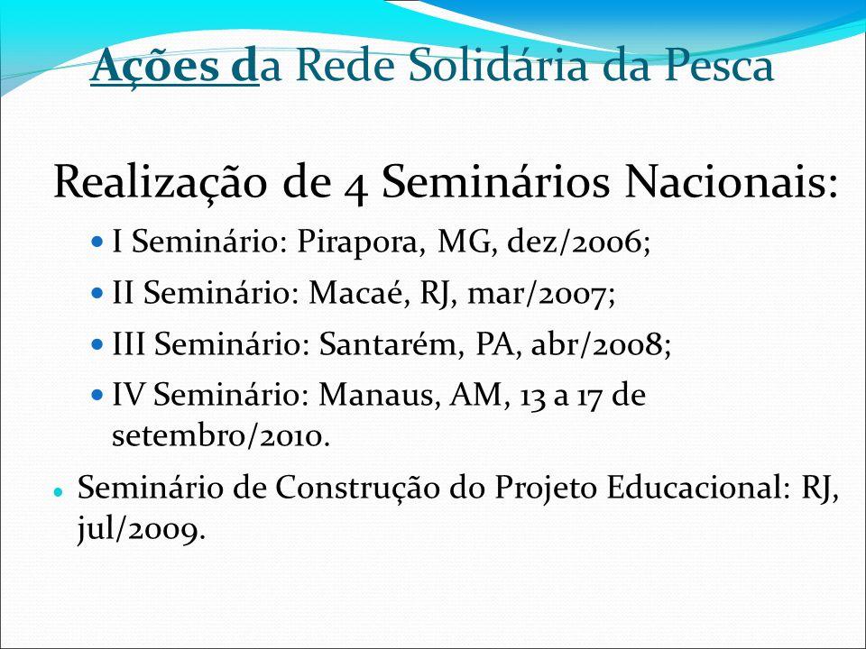 Ações da Rede Solidária da Pesca Realização de 4 Seminários Nacionais: I Seminário: Pirapora, MG, dez/2006; II Seminário: Macaé, RJ, mar/2007; III Sem
