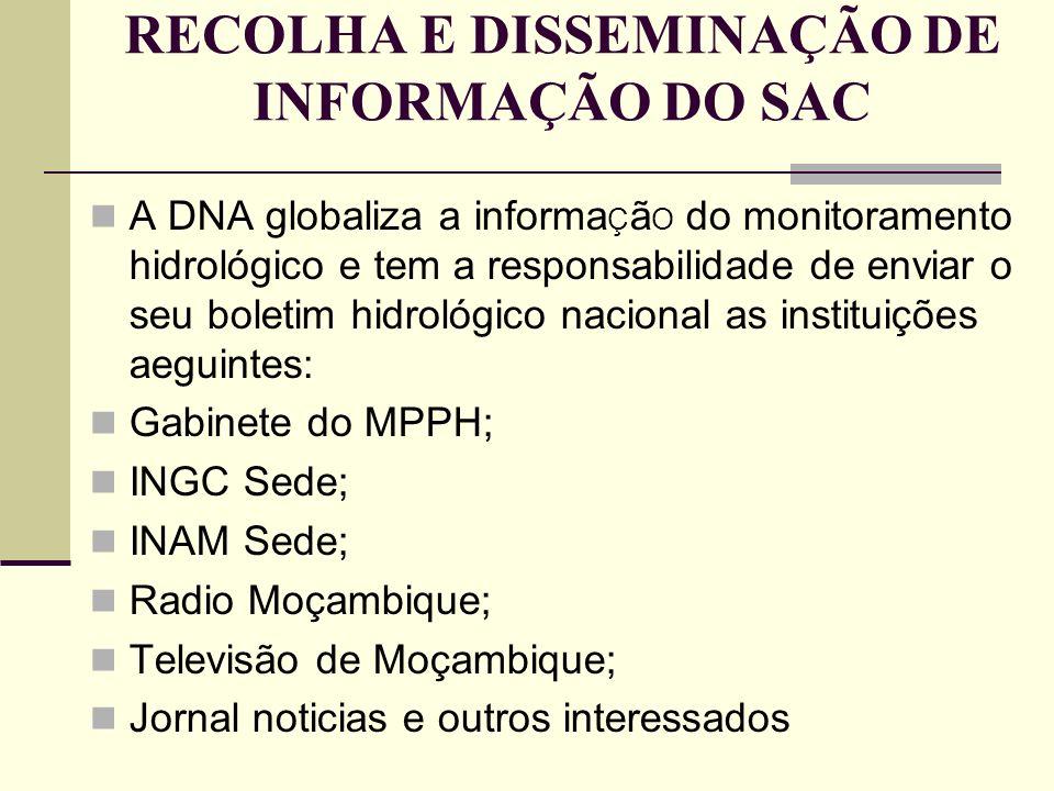 RECOLHA E DISSEMINAÇÃO DE INFORMAÇÃO DO SAC A DNA globaliza a informa Ç ã O do monitoramento hidrológico e tem a responsabilidade de enviar o seu bole