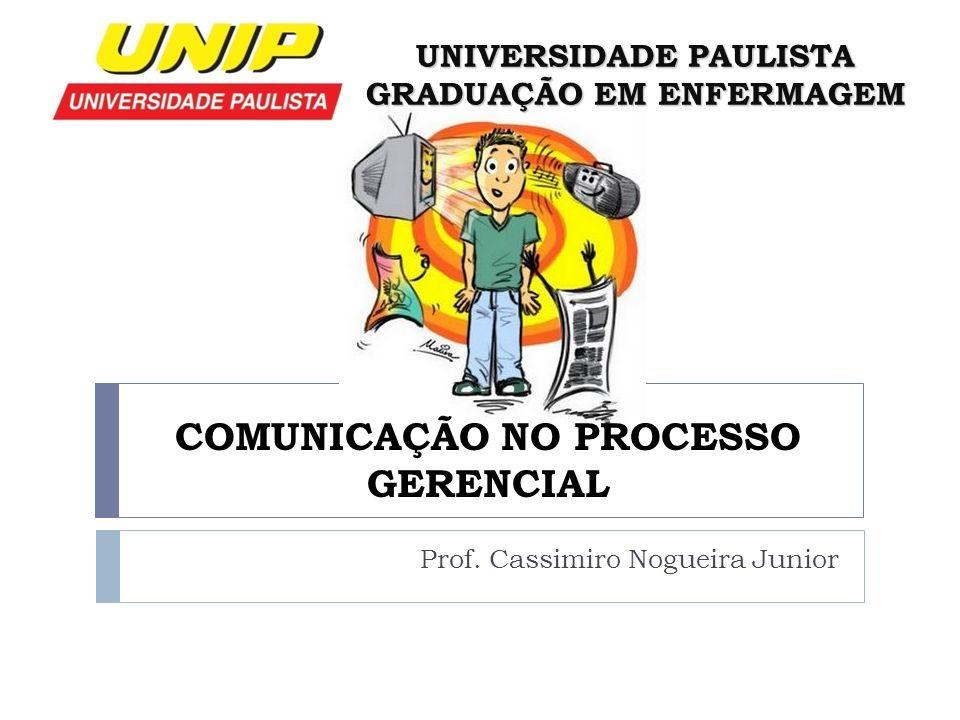 COMUNICAÇÃO NO PROCESSO GERENCIAL Prof. Cassimiro Nogueira Junior UNIVERSIDADE PAULISTA GRADUAÇÃO EM ENFERMAGEM